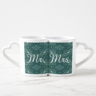 rustic turquoise leather country wedding Mr.Mrs. Coffee Mug Set