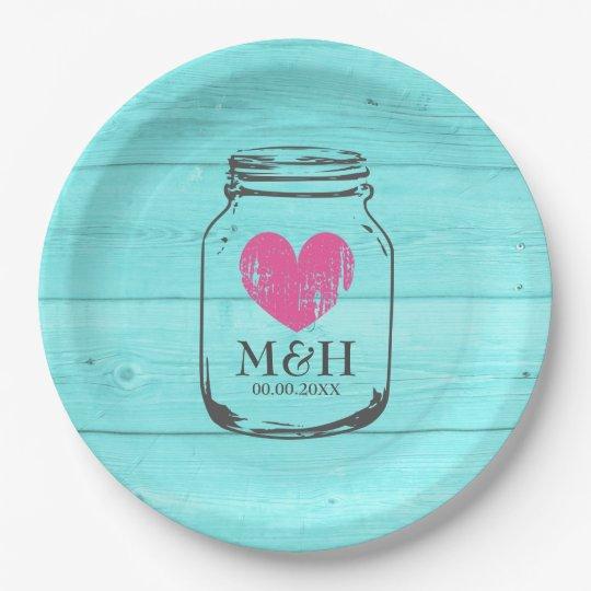 Rustic Turquoise Mason Jar Wedding Party Plates