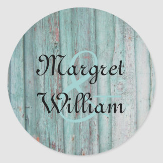 Rustic Turquoise Painted Wood Envelope Seal Classic Round Sticker