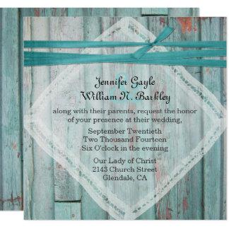 Rustic Turquoise Painted Wood Wedding Invitation