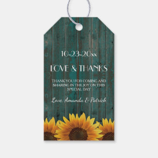 Rustic Turquoise Sunflower Wedding Thank You Tags