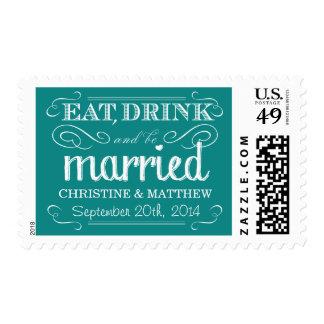 Rustic Turquoise Teal Vintage Wedding Postage