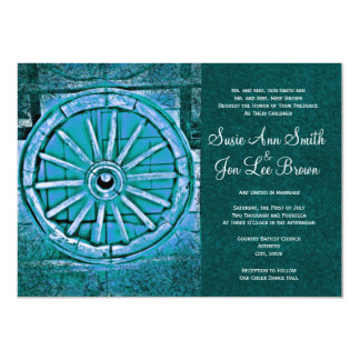 Rustic Turquoise Wagon Wheel Wedding Invitations
