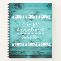 Rustic Turquoise Wood Camping Custom RV Journal