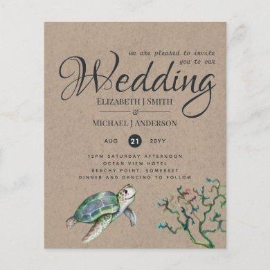 Rustic Turtle Ocean Sea Wedding Invites Budget