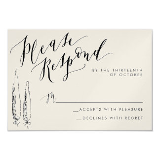 Rustic Tuscany Calligraphy Reply Card