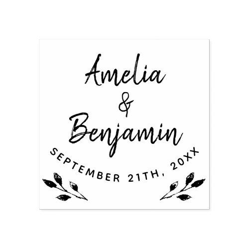 Rustic Twigs Typography Bride Groom Names Wedding Rubber Stamp