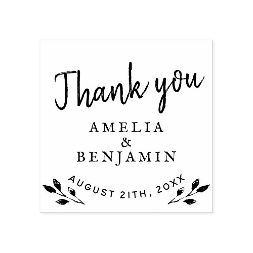Rustic Twigs Typography Thank you Wedding Rubber Stamp