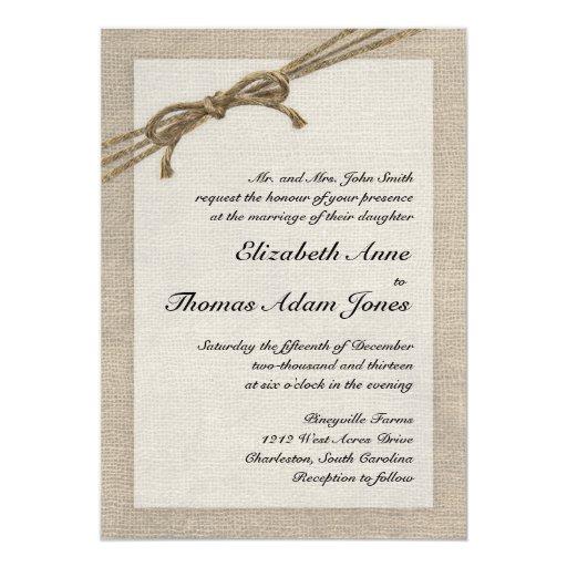 Rustic Twine Bow And Burlap Wedding Invitation
