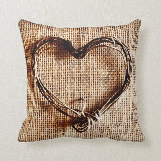 Rustic Twine Heart Faux Burlap Jute Country Pillow