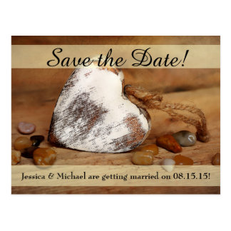 Rustic Twine Wood Heart Save the Date Postcard