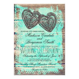 Rustic Two Hearts Barn Wood Aqua Wedding Invites