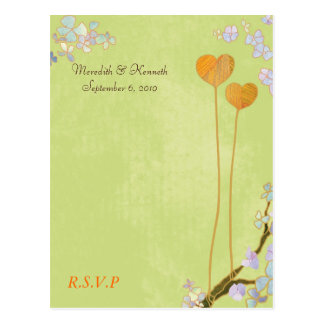Rustic Two Hearts Lime Green Wedding RSVP Postcard