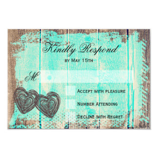 Rustic Two Hearts Wood Aqua Wedding RSVP Cards