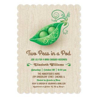 Rustic Two Peas in a Pod Twins Baby Shower 5x7 Paper Invitation Card