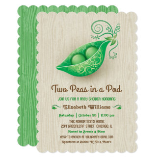 Rustic Two Peas in a Pod Twins Baby Shower Card