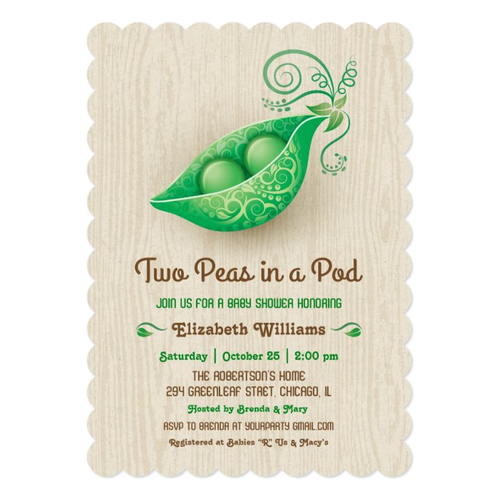 rustic two peas in a pod twins baby shower card zazzle
