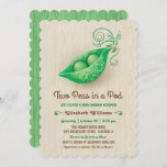 Rustic Two Peas in a Pod Twins Baby Shower Invitation