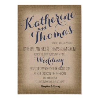 Rustic Type Name Design Wedding Card