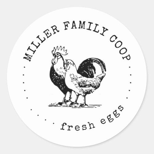 rustic typewriter family farm chicken classic round sticker
