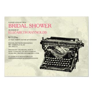 Rustic Typewriter Keys Bridal Shower Invitations Announcement