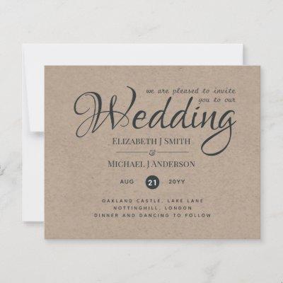 Rustic TYPOGRAHY Wedding Invites - Kraft Look