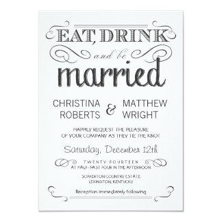 Rustic Typography Black & White Wedding Invitation
