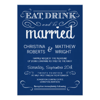 Rustic Typography Blue Wedding Invitations