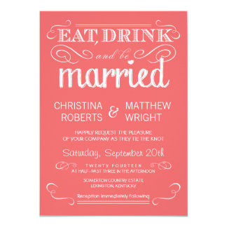Rustic Typography Coral Pink Wedding Invitations