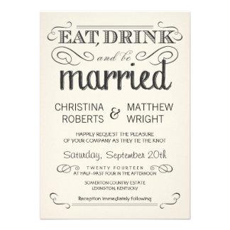 Rustic Typography Cream Parchment Wedding Invites