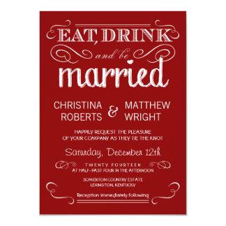 Rustic Typography Crimson Red Wedding Invitations