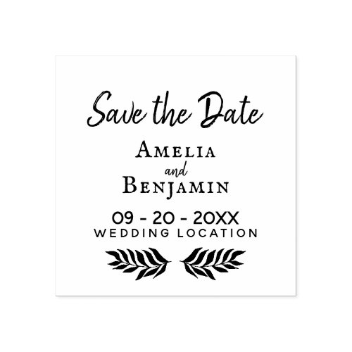 Rustic Typography Custom Wedding Save the Date Rubber Stamp