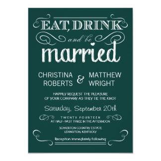 Rustic Typography Emerald Green Wedding Invitation