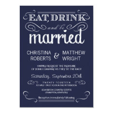 "Rustic Typography Navy Blue Wedding Invitations 4.5"" X 6.25"" Invitation Card at Zazzle"