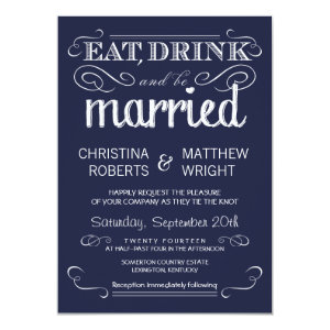 Rustic Typography Navy Blue Wedding Invitations 4.5