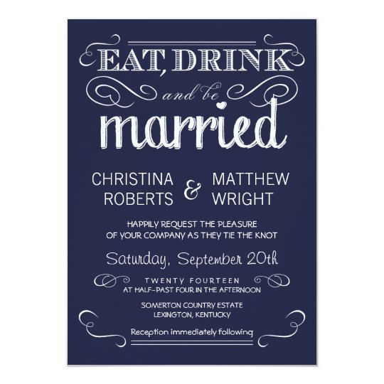 Rustic Typography Navy Blue Wedding Invitations Zazzle Com