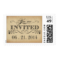 Rustic Typography Parchment Wedding Postage