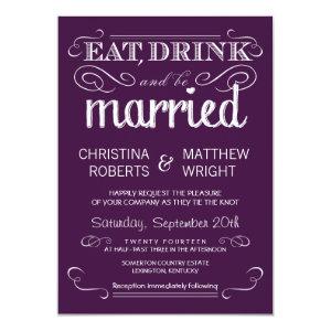 Rustic Typography Plum Purple Wedding Invitations 4.5