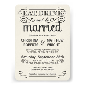Rustic Typography Rounded Wedding Invitations