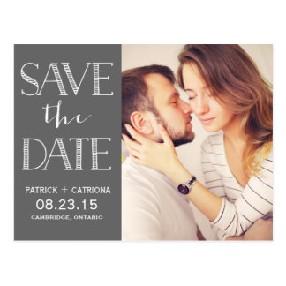 Rustic Typography Save the Date Postcard | Grey