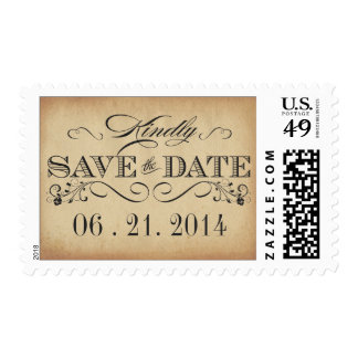 Rustic Typography Save the Date Wedding Postage