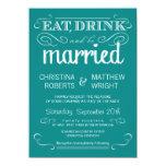 "Rustic Typography Teal Blue Wedding Invitation 4.5"" X 6.25"" Invitation Card"