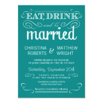 Rustic Typography Teal Blue Wedding Invitation