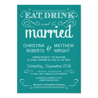 Rustic Typography Teal Blue Wedding Invitation