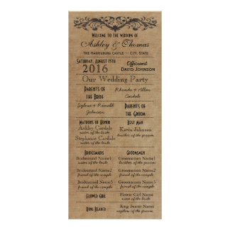 Rustic Typography Wedding Programs 2 Matrons Honor