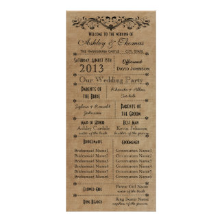 Rustic Typography Wedding Programs 6 Bridesmaids Customized Rack Card