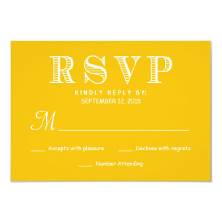 "Rustic Typography Wedding Reply - Yellow and White 3.5"" X 5"" Invitation Card"