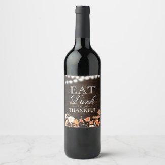 Rustic typography wood Thanksgiving dinner Wine Label