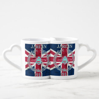 Rustic Union Jack Flag queen jubilee french bee Coffee Mug Set