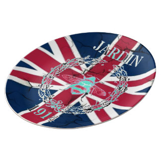 Rustic Union Jack Flag queen jubilee french bee Dinner Plate
